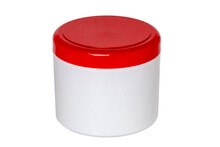 Closeup Of A Closed White Plastic Jar Or Container For Cosmetic Gel Or Cream With A Red Cap Isolated On A White Background. Empty Space. Macro.