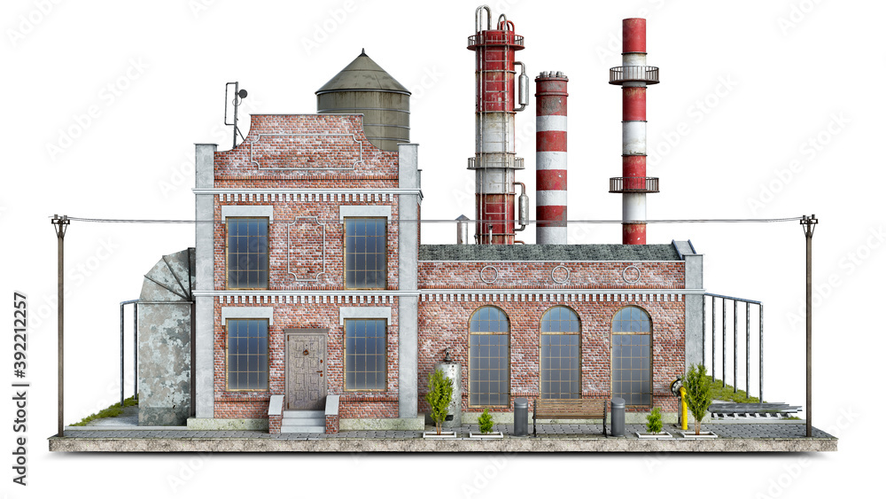 Fototapeta Front view on an old factory building on a piece of ground, 3d illustration