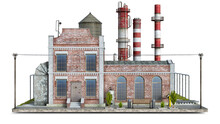 Front View On An Old Factory Building On A Piece Of Ground, 3d Illustration