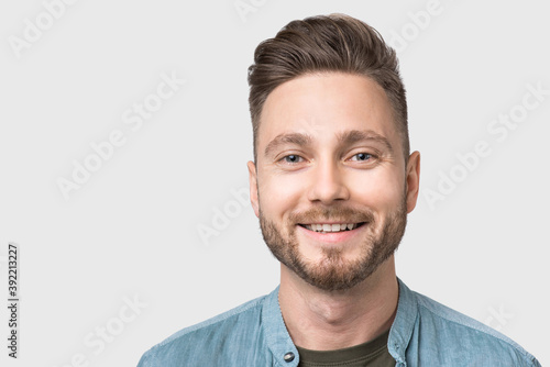Closeup portrait of handsome smiling young man, laughing joyful cheerful men iso Fototapet