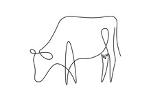 Cow On Pasture In Continuous Line Art Drawing Style. Grazing Cow Abstract Minimalist Black Linear Sketch Isolated On White Background. Vector Illustration