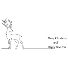 Vector Deer. One Line Drawing. Vector Illustration Continuous Line Drawing. Banner With Reindeer. Silhouette Of Deer. Merry Christmas And Happy New Year