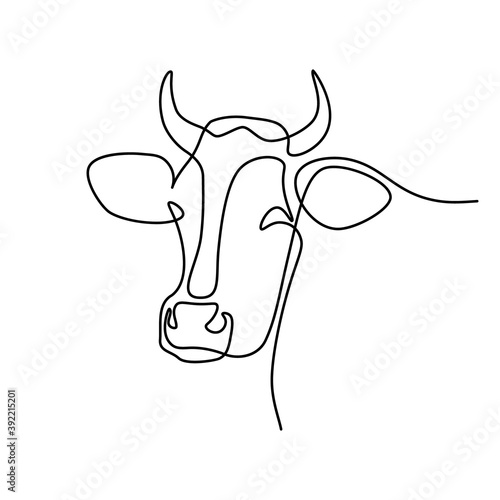 Cow head in continuous line art drawing style Fototapeta