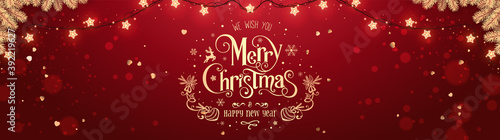 Obraz Gold Christmas and New Year Text lettering on red Xmas background with glitter gold confetti, bokeh, golden fir branches and glowing lights garland. Merry Christmas card. Vector Illustration, banner - fototapety do salonu