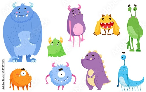 Funny Smiling Toothy Monsters with Horns Vector Set