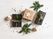 Flat Lay Of Christmas Gifts Sustainable Packed