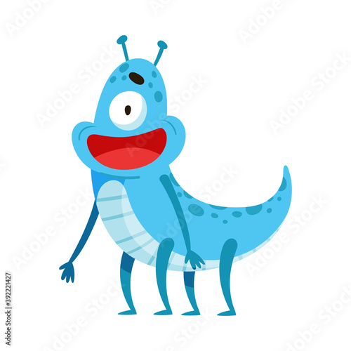 Wallpaper Mural Funny Monster with Antenna Standing and Smiling Vector Illustration
