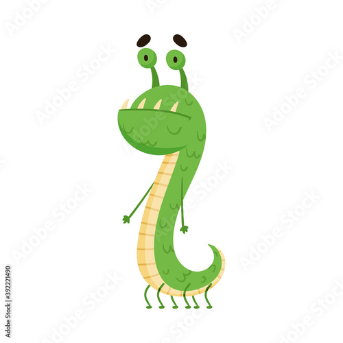 Платно Funny Monster with Antenna Standing and Smiling Vector Illustration