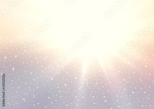 Obraz na plátně Winter sun rays shines brightly on pastel yellow lilac empty background decorated light snow