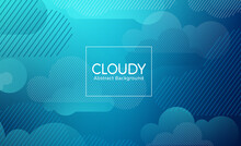 Cloud Abstract Vector Banner Design Template. Cloudy Abstract Background Text With Geometric Blue Clouds Shapes Element For Creative Wallpaper Concept. Vector Illustration