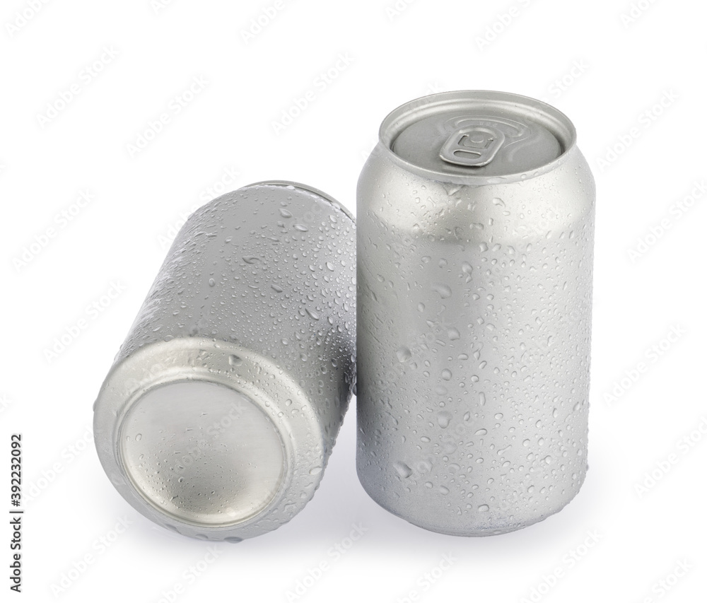 Fototapeta wet metal aluminum beverage drink cans isolated on white background