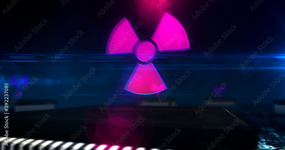 Fototapeta Cyber attack with nuclear symbol 3d illustration