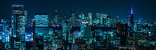 Cyberpunk Night View Of Tokyo, Japan