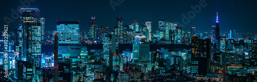 Cyberpunk Night View of Tokyo, Japan Fototapet