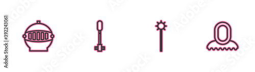 Fototapeta Set line Medieval iron helmet, chained mace ball, Torch flame and hood icon. Vector. obraz
