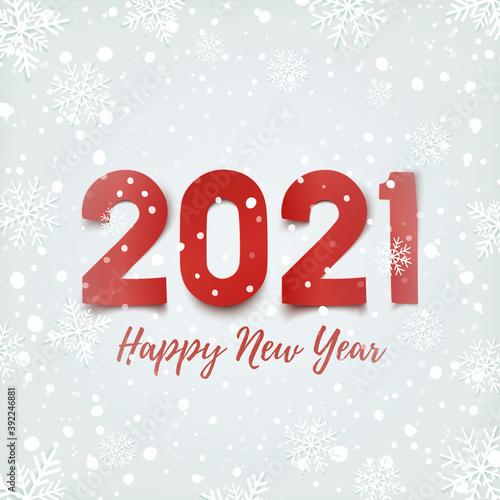 Obraz Happy New Year 2021 design, on winter background. - fototapety do salonu