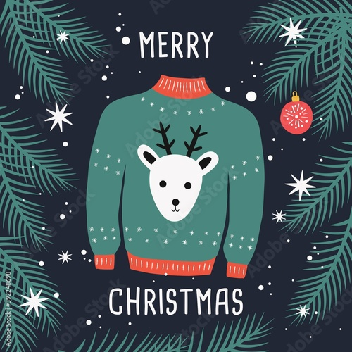 Merry Christmas ugly sweater card with reindeer and branches. Woolen winter clothes and traditional festive elements and decoration. Flat vector colorful illustration.