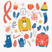 Collection Of New Year And Christmas Elements. Traditional Winter Holiday Decoration, Clothes, Gifts And Animals, Isolated. Colorful Vector Illustration