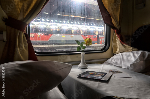 Fototapeta classic interior of sleeping car of train