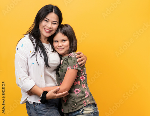 Fototapeta Happy family, smiling mom with her daughter