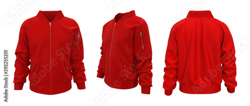 Canvastavla Red bomber jacket mockup in front, back and side views, design presentation for