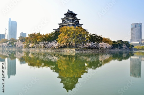 広島城 天守閣と桜 Fotobehang