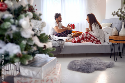 Obraz na plátně young beardy guy surprising his girlfriend with Christmas present while having b