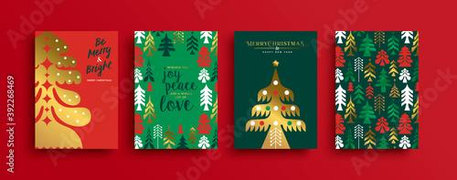 Christmas New Year gold scandinavian pine tree set