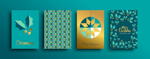 Obraz na Szkle Siatkówka Christmas New Year gold holly pattern card set