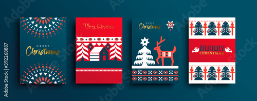Christmas New Year folk deer geometric card set Tapéta, Fotótapéta