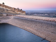 Dusk Over Horsetooth Reservoir, Dam And Fort Collins - Fall Scenery With A Low Water Level