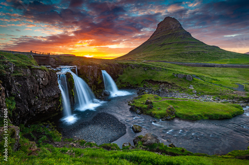 Beautiful Summer Sunset Over the Magical Kirkjufell Mountain