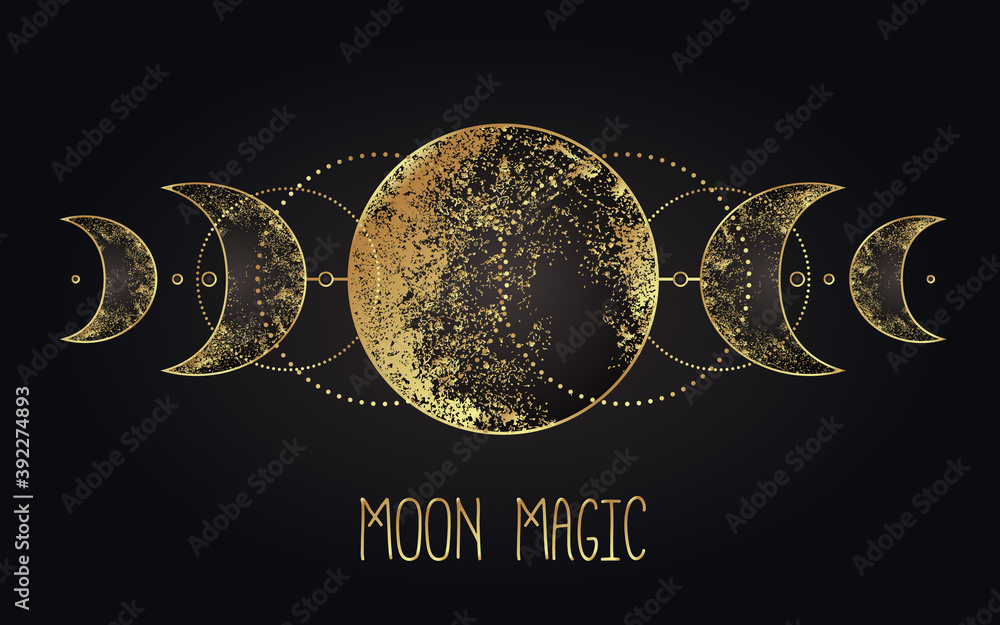 Fototapeta Moon magic. Triple moon pagan Wicca moon goddess symbol. Three-faced Goddess. Maiden, Mother, Crone vector illustration. Tattoo, astrology, alchemy, boho and magic symbol golden over black.