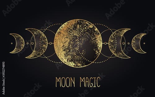 Obraz Moon magic. Triple moon pagan Wicca moon goddess symbol. Three-faced Goddess. Maiden, Mother, Crone vector illustration. Tattoo, astrology, alchemy, boho and magic symbol golden over black. - fototapety do salonu