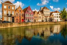 Canal Scene, Bruges, West Flanders, Belgium