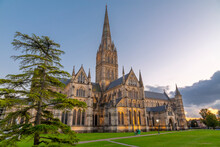 View Of Salisbury Cathedral At Dusk, Salisbury, Wiltshire