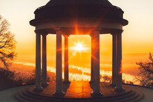 Niederwald Monument In Hessen Germany. Sunrise With Temples And Great Orange Colors. Great Atmosphere With A View Of The Rhine