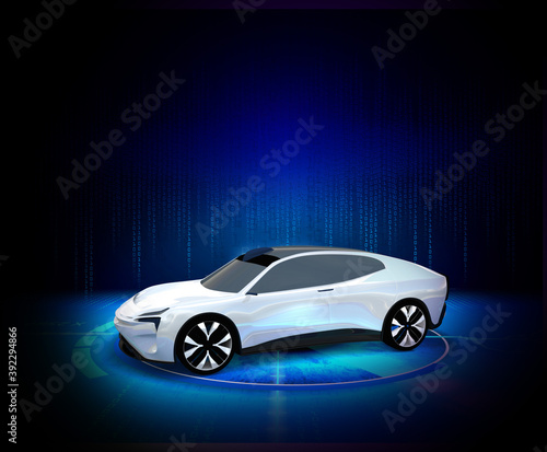 Fototapeta electric car with a power station to charge obraz na płótnie