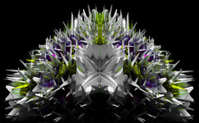 3d Render Abstract Art With Surreal Alien Fractal Cyber Crystal Gemstone Based On Triangle Symmetry Pattern In White Plastic With Glass Parts In Green And Purple Color On Isolated Black Background