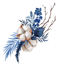 Watercolor Illustration, Christmas Composition With Cotton, Berries, Juniper Branches, Poincetia, Isolated On A White Background, Blue Flowers