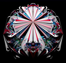 3d Render Of Abstract Art Of Surreal Alien Fractal Cyber Symmetry Crystal Flower Based On Triangle Pattern In White Ceramic And Metal Parts In Red And Blue Gradient Color On Isolated Black Background