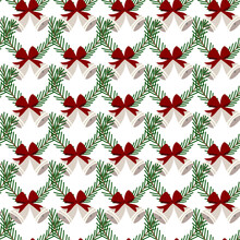 Christmas Bells With Cedar Cone Seamless Pattern. Happy New Year Wrapping Paper Texture. Vector Illustration.