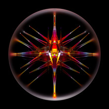 3d Render Of Abstract Art 3d Ball With Surreal Alien Energy Crystal Inside In Fractal Triangle And Pyramid Pattern In Transparent Plastic Material In Red And Yellow Gradient Color On Black Background