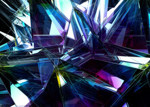 3d Render Of Abstract Art 3d Background With Part Of Surreal Alien Mechanism Detail Based On Triangle Fractal Pattern In Mirror Plastic In Blue And Purple Gradient And Metal Wire Structure Materials