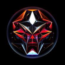 3d Render Of Abstract Art With Glass 3d Ball With Alien Fractal Cyber Crystal Mystic Mechanism Inside Based On Triangle Pattern In Red And Blue Gradient Color On Black Background