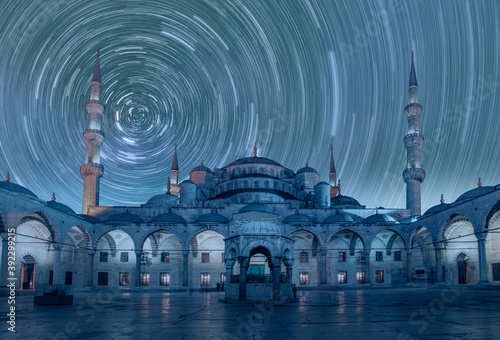 Obraz na plátně The Blue Mosque with Star trails in the background - Istanbul, Turkey