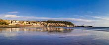Panoramic View Of Scarborough (North Yorkshire) Harbour And Old Town