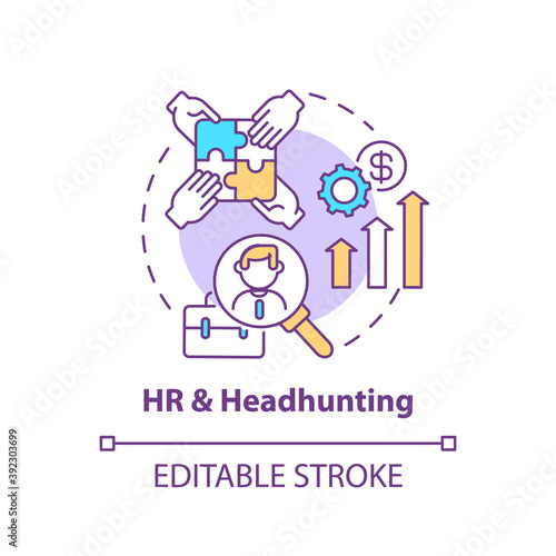 HR and headhunting concept icon. Top business consulting service idea thin line illustration. Human resources. Finding talent for employers. Vector isolated outline RGB color drawing. Editable stroke