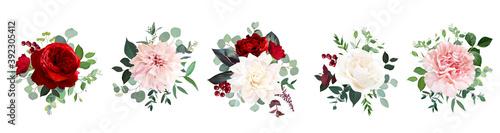 Fototapeta Classic red rose flowers, white ivory dahlia, carnation vector design wedding bouquets obraz