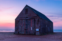 Day Break At The Mary Stanford Lifeboat House Memorial On The Coast Between Rye Harbour And Winchelsea East Sussex South East England